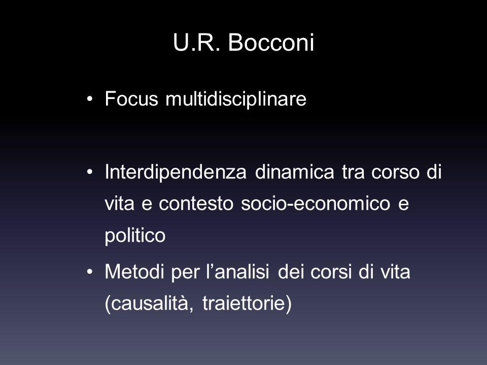 U.R. Bocconi Focus multidisciplinare Interdipendenza dinamica tra corso di vita e contesto socio-economico e politico Metodi per lanalisi dei corsi di