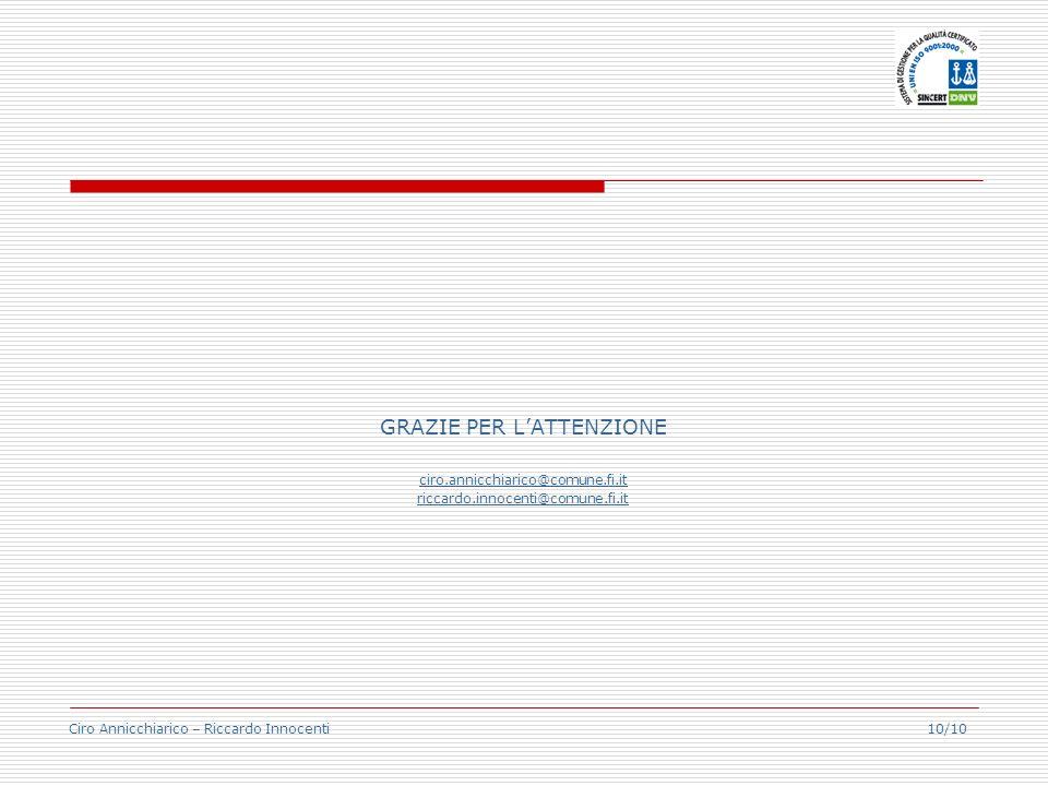Ciro Annicchiarico – Riccardo Innocenti 10/10 GRAZIE PER LATTENZIONE ciro.annicchiarico@comune.fi.it riccardo.innocenti@comune.fi.it