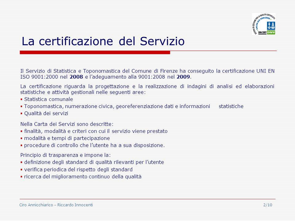 Ciro Annicchiarico – Riccardo Innocenti 2/10 La certificazione del Servizio Il Servizio di Statistica e Toponomastica del Comune di Firenze ha consegu