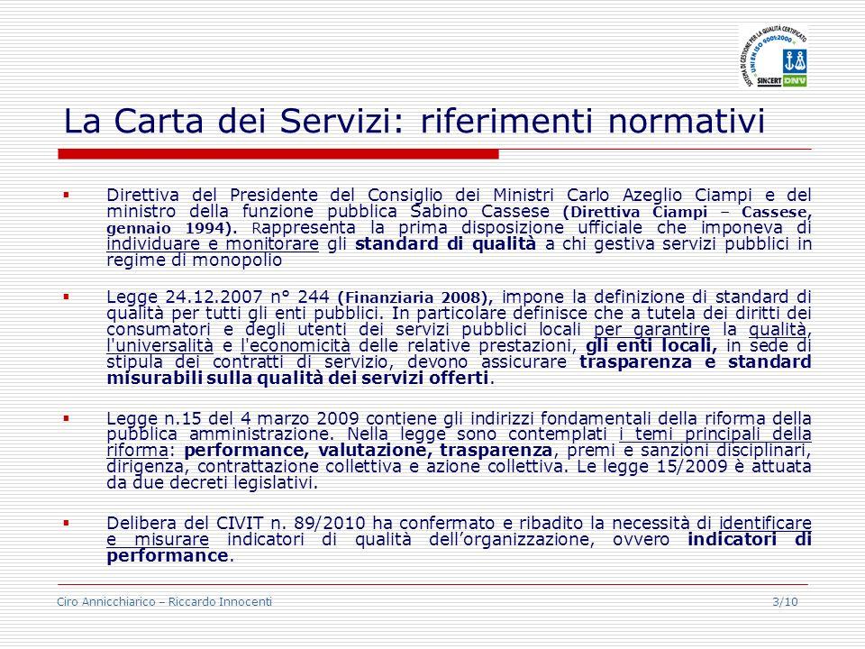 Ciro Annicchiarico – Riccardo Innocenti 3/10 La Carta dei Servizi: riferimenti normativi Direttiva del Presidente del Consiglio dei Ministri Carlo Aze