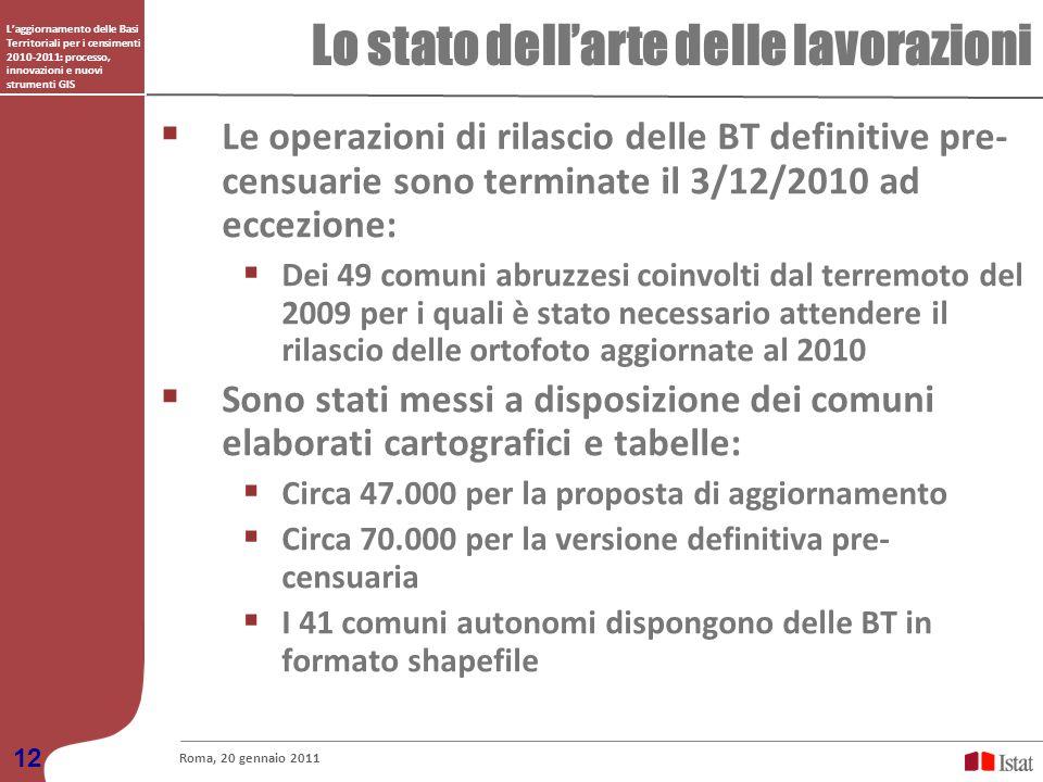 Laggiornamento delle Basi Territoriali per i censimenti 2010-2011: processo, innovazioni e nuovi strumenti GIS Lo stato dellarte delle lavorazioni Rom