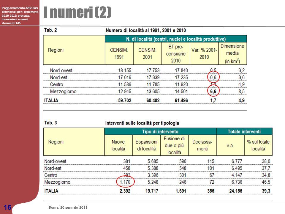 I numeri (2) Laggiornamento delle Basi Territoriali per i censimenti 2010-2011: processo, innovazioni e nuovi strumenti GIS Roma, 20 gennaio 2011 16