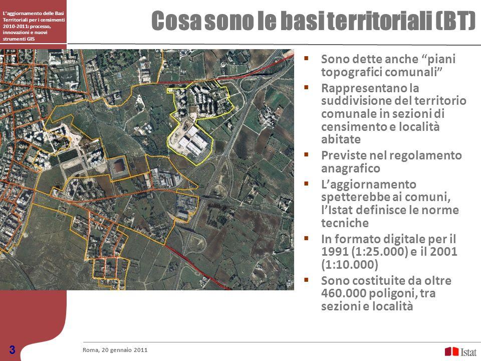 Laggiornamento delle Basi Territoriali per i censimenti 2010-2011: processo, innovazioni e nuovi strumenti GIS Cosa sono le basi territoriali (BT) Rom