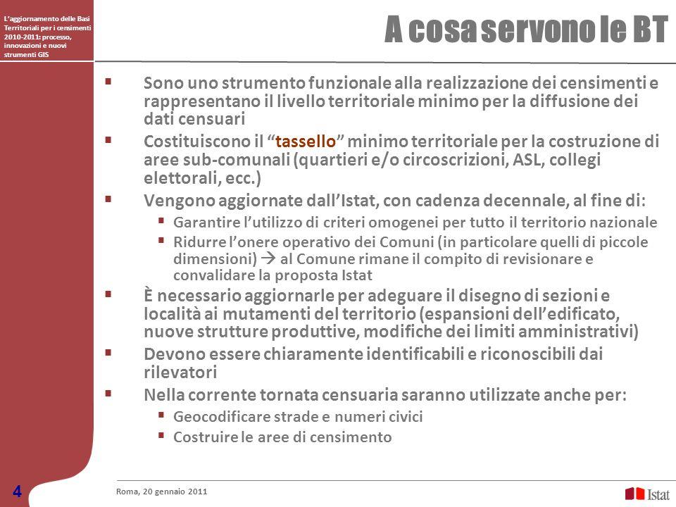 Laggiornamento delle Basi Territoriali per i censimenti 2010-2011: processo, innovazioni e nuovi strumenti GIS A cosa servono le BT Roma, 20 gennaio 2
