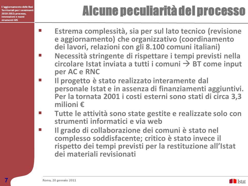 Laggiornamento delle Basi Territoriali per i censimenti 2010-2011: processo, innovazioni e nuovi strumenti GIS Alcune peculiarità del processo Roma, 2