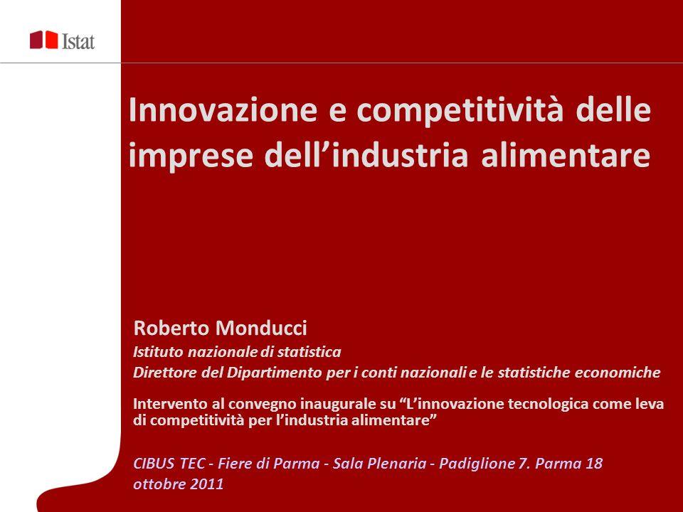 Innovazione e competitività delle imprese dellindustria alimentare Roberto Monducci Istituto nazionale di statistica Direttore del Dipartimento per i