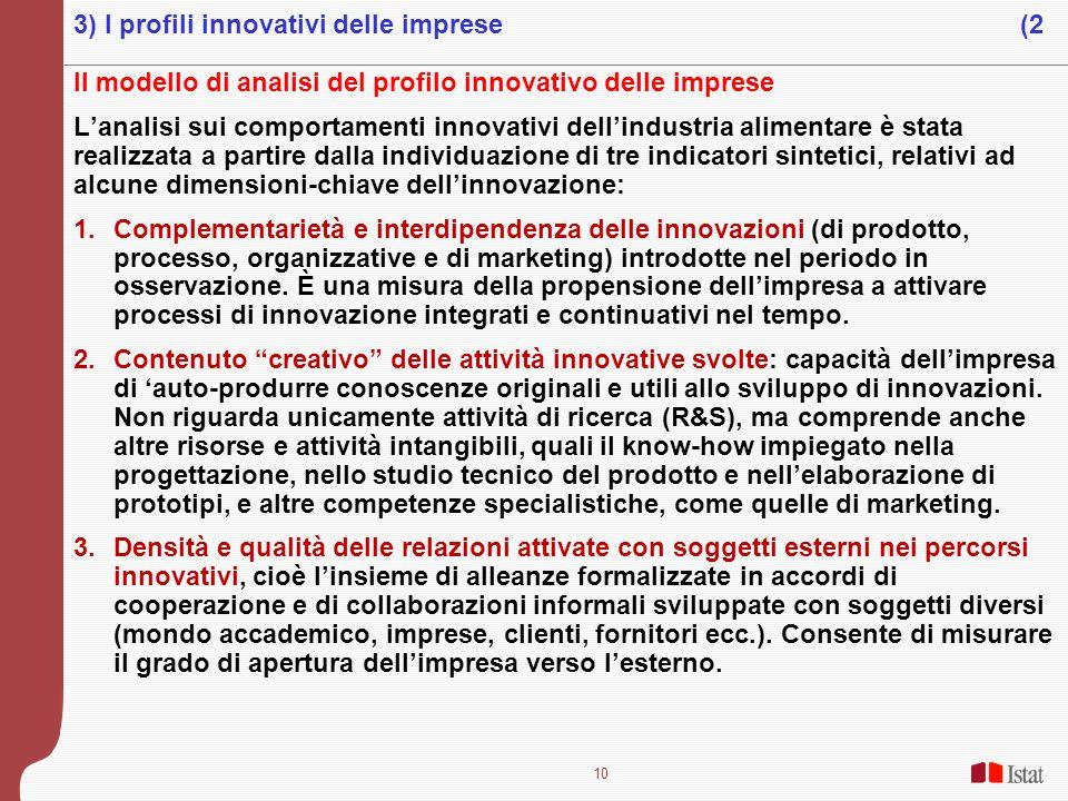 10 Il modello di analisi del profilo innovativo delle imprese Lanalisi sui comportamenti innovativi dellindustria alimentare è stata realizzata a part