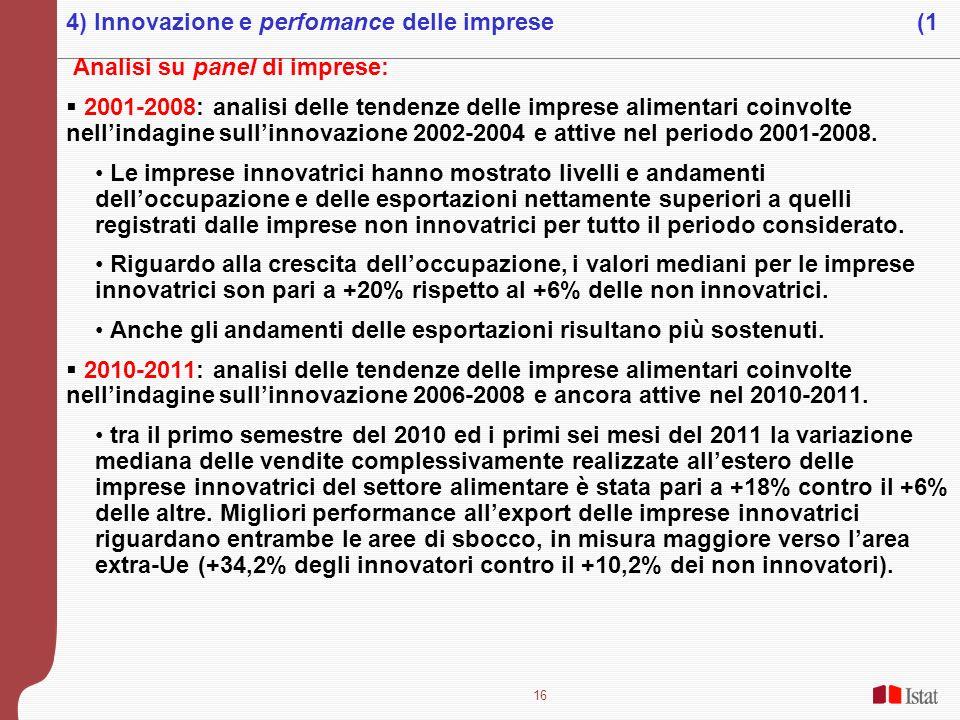 16 Analisi su panel di imprese: 2001-2008: analisi delle tendenze delle imprese alimentari coinvolte nellindagine sullinnovazione 2002-2004 e attive n