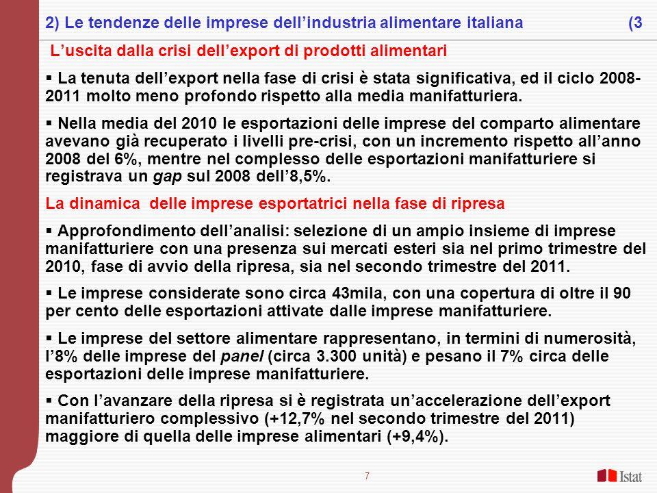 7 Luscita dalla crisi dellexport di prodotti alimentari La tenuta dellexport nella fase di crisi è stata significativa, ed il ciclo 2008- 2011 molto m