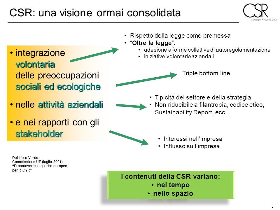 3 Dal Libro Verde Commissione UE (luglio 2001) Promuovere un quadro europeo per la CSR volontaria sociali ed ecologicheintegrazione volontaria delle p