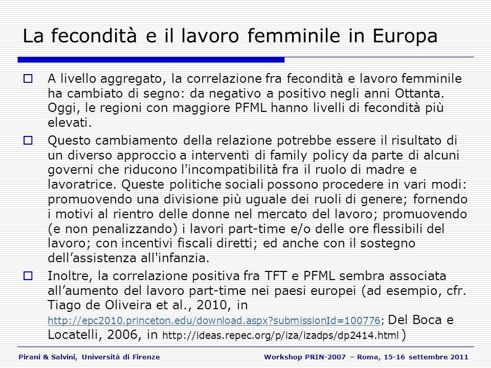 Pirani & Salvini, Università di FirenzeWorkshop PRIN-2007 – Roma, 15-16 settembre 2011 La fecondità e il lavoro femminile in Europa A livello aggregat