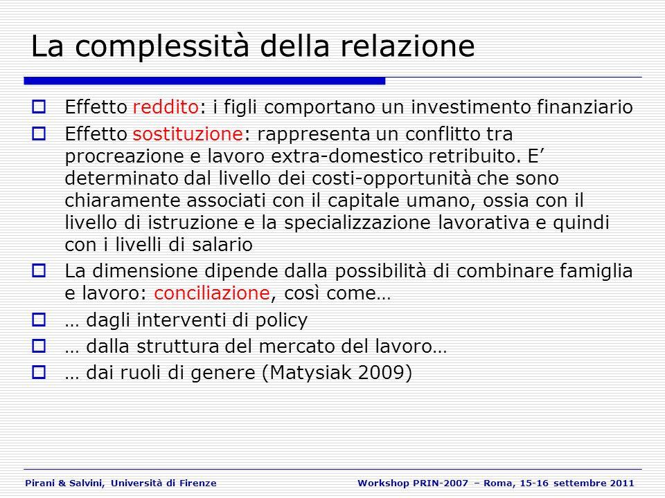 Pirani & Salvini, Università di FirenzeWorkshop PRIN-2007 – Roma, 15-16 settembre 2011 La complessità della relazione Effetto reddito: i figli comport