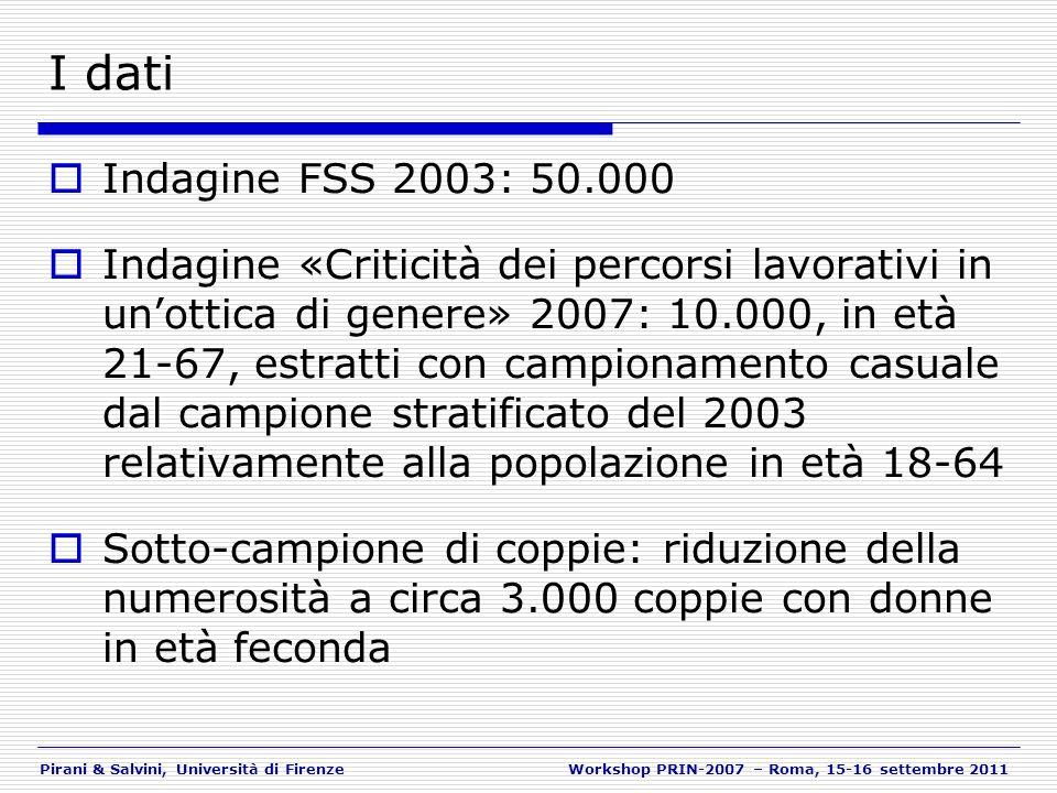 Pirani & Salvini, Università di FirenzeWorkshop PRIN-2007 – Roma, 15-16 settembre 2011 I dati Indagine FSS 2003: 50.000 Indagine «Criticità dei percor