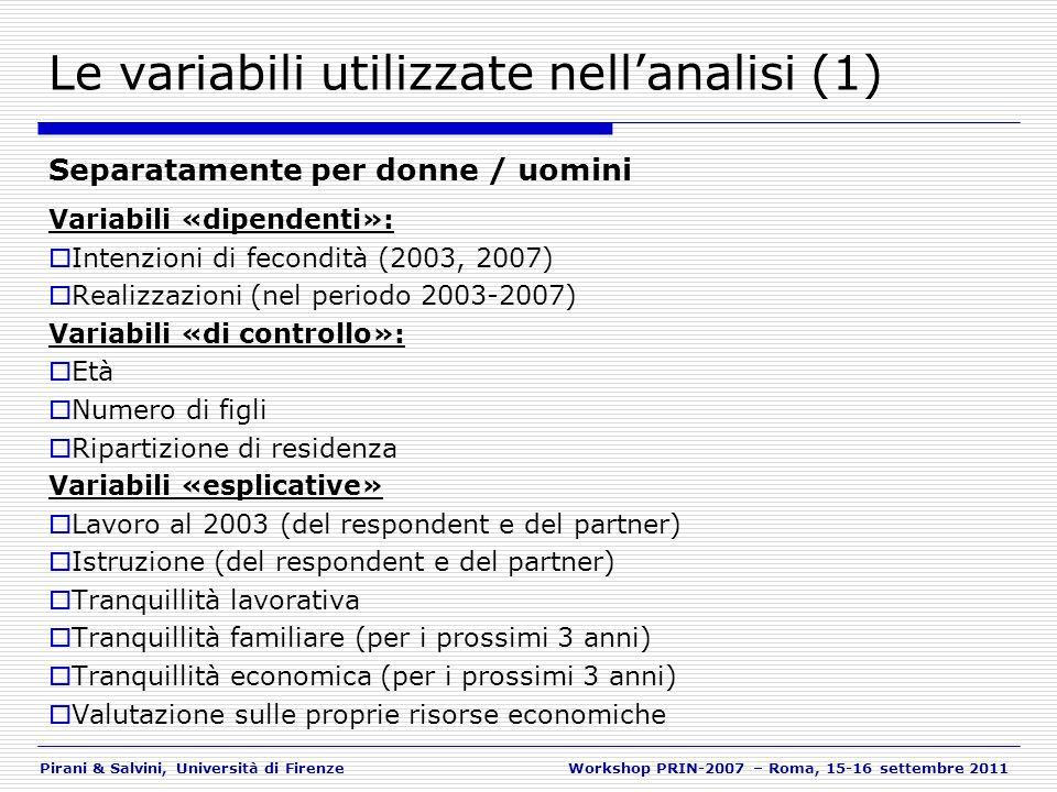 Pirani & Salvini, Università di FirenzeWorkshop PRIN-2007 – Roma, 15-16 settembre 2011 Le variabili utilizzate nellanalisi (1) Separatamente per donne