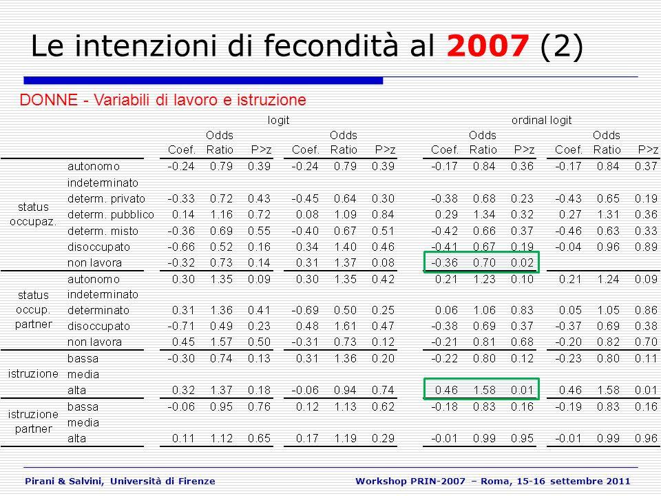Pirani & Salvini, Università di FirenzeWorkshop PRIN-2007 – Roma, 15-16 settembre 2011 Le intenzioni di fecondità al 2007 (2) DONNE - Variabili di lav
