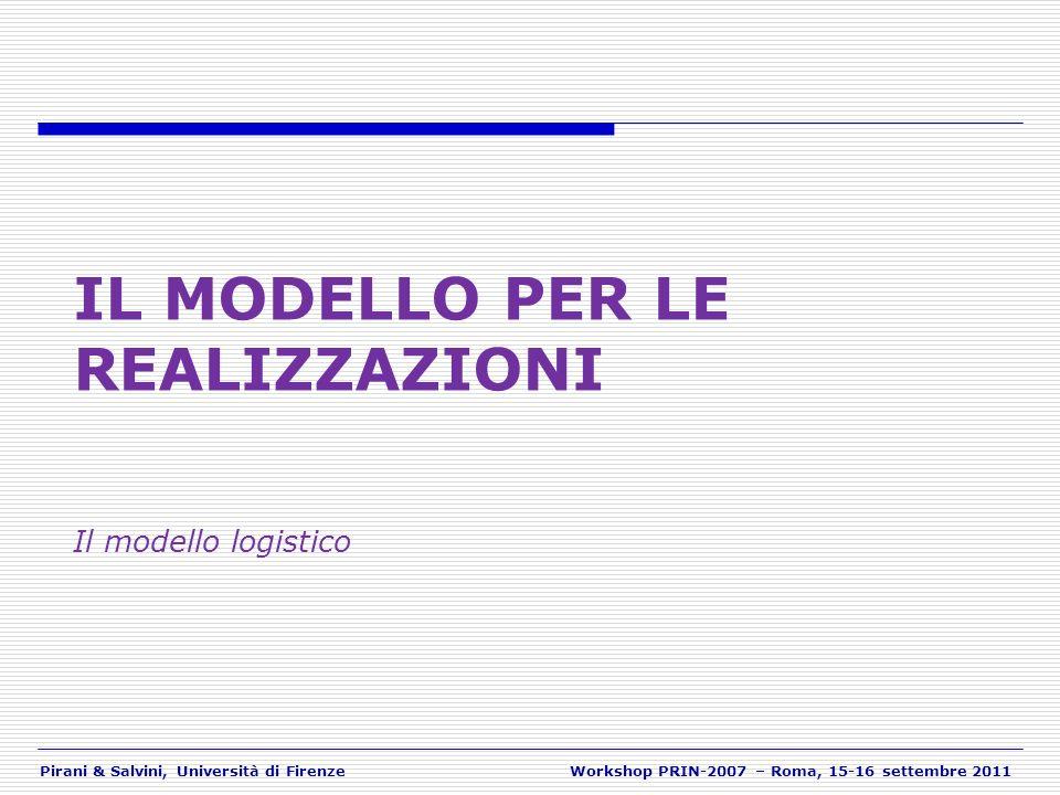 Pirani & Salvini, Università di FirenzeWorkshop PRIN-2007 – Roma, 15-16 settembre 2011 IL MODELLO PER LE REALIZZAZIONI Il modello logistico