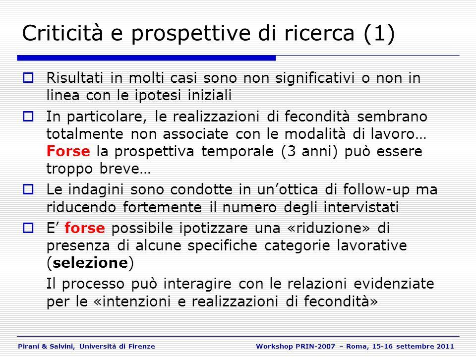 Pirani & Salvini, Università di FirenzeWorkshop PRIN-2007 – Roma, 15-16 settembre 2011 Criticità e prospettive di ricerca (1) Risultati in molti casi