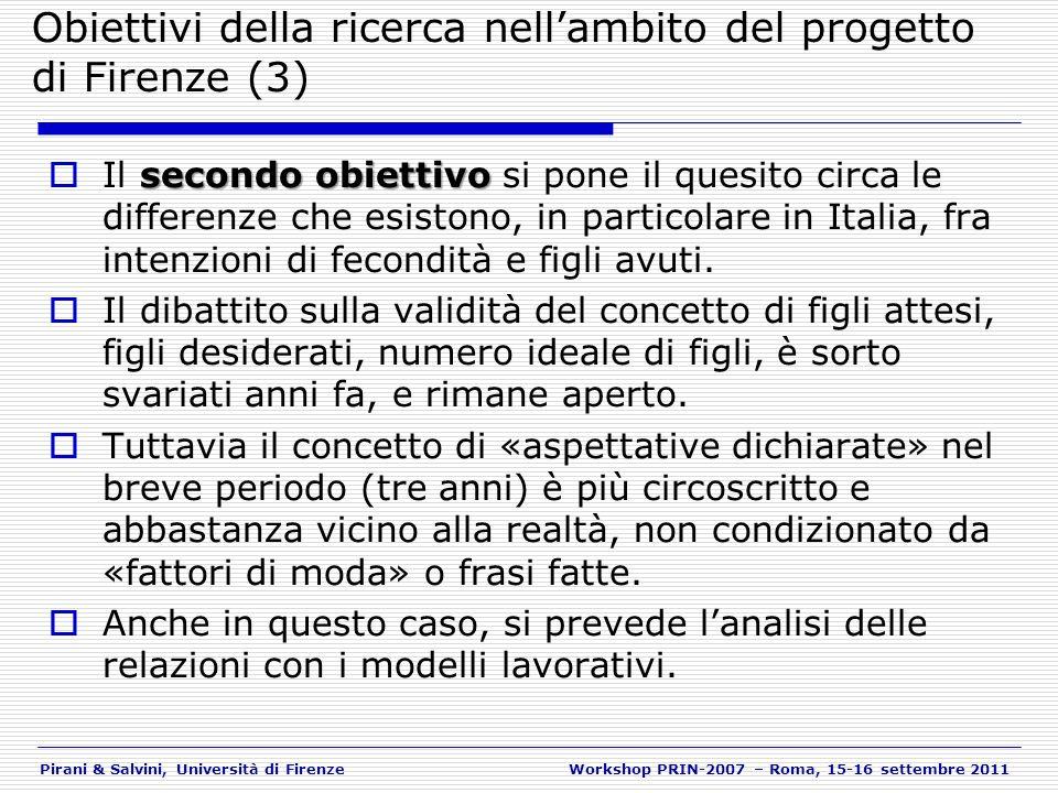 Pirani & Salvini, Università di FirenzeWorkshop PRIN-2007 – Roma, 15-16 settembre 2011 Stato dellarte (1) Lavoro e fecondità (2) Incertezza economico-lavorativa e «fare famiglia» (3) Intenzioni di fecondità: positive e negative (4) Le determinanti (4) Una diversa predittività.