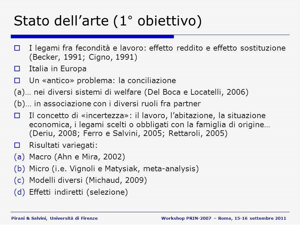 Pirani & Salvini, Università di FirenzeWorkshop PRIN-2007 – Roma, 15-16 settembre 2011 Le intenzioni di fecondità al 2007 (1) DONNE - Variabili di controllo NOTA: Le prime 3 colonne delle tabelle si riferiscono ai risultati del modello «senza cambio di lavoro» e le altre con la variabile «con cambio di lavoro»