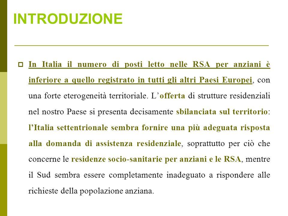 1) Descrivere la disponibilità in Italia di residenze per anziani analizzando la distribuzione territoriale di RSA, di centri di riabilitazione ex art.