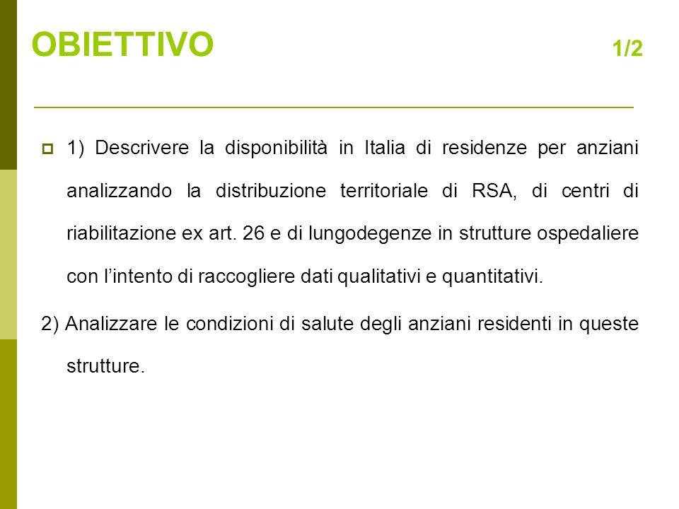 3) Confrontare, in cinque regioni italiane, le condizioni di salute delle persone anziane che vivono in RSA con le condizioni di anziani non istituzionalizzati, per evidenziare la presenza di una eventuale maggiore fragilità nellanziano istituzionalizzato rispetto allanziano non istituzionalizzato.