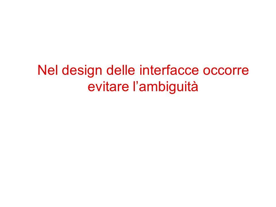 Nel design delle interfacce occorre evitare lambiguità