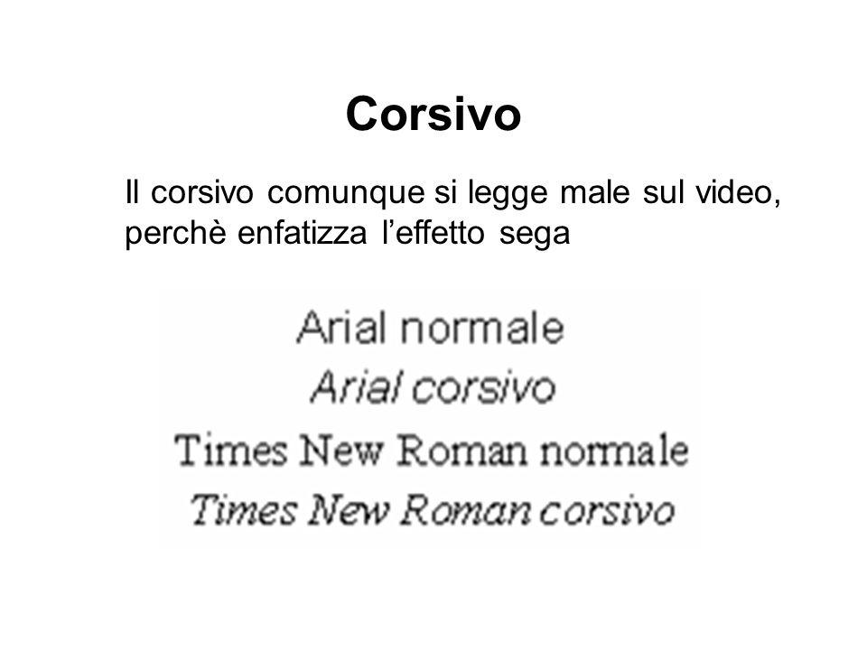 Corsivo Il corsivo comunque si legge male sul video, perchè enfatizza leffetto sega