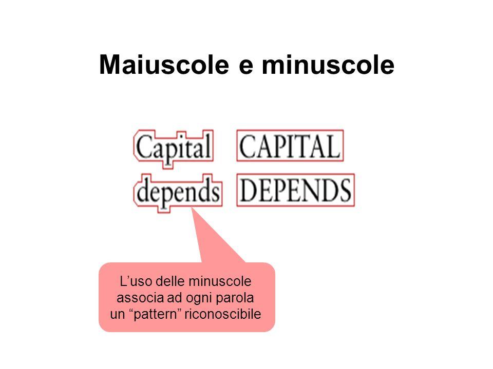 Maiuscole e minuscole Luso delle minuscole associa ad ogni parola un pattern riconoscibile