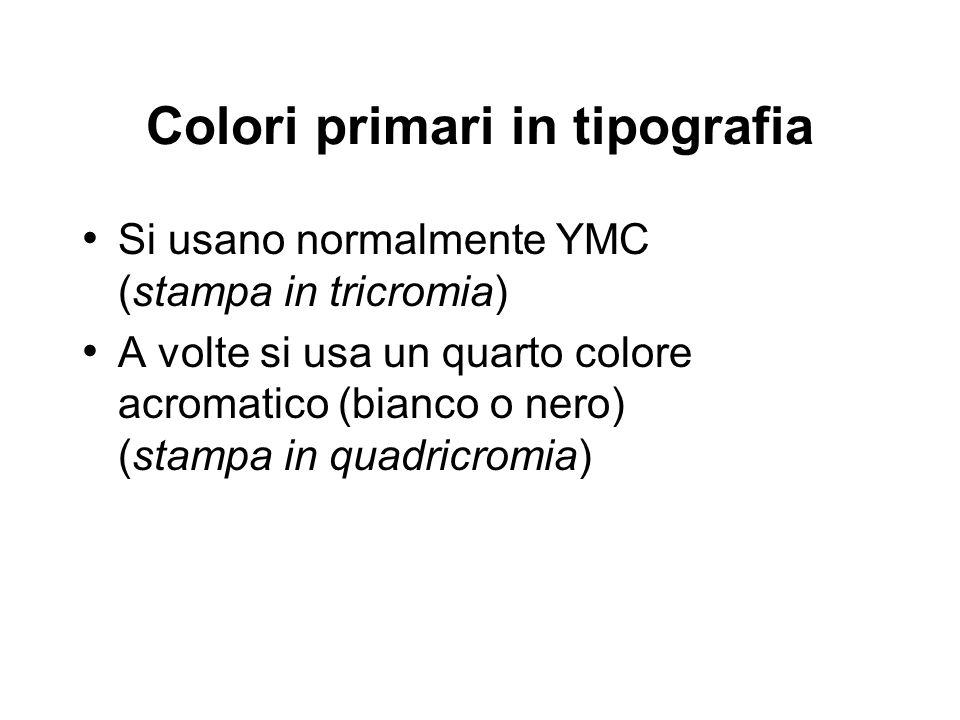 Colori primari in tipografia Si usano normalmente YMC (stampa in tricromia) A volte si usa un quarto colore acromatico (bianco o nero) (stampa in quad