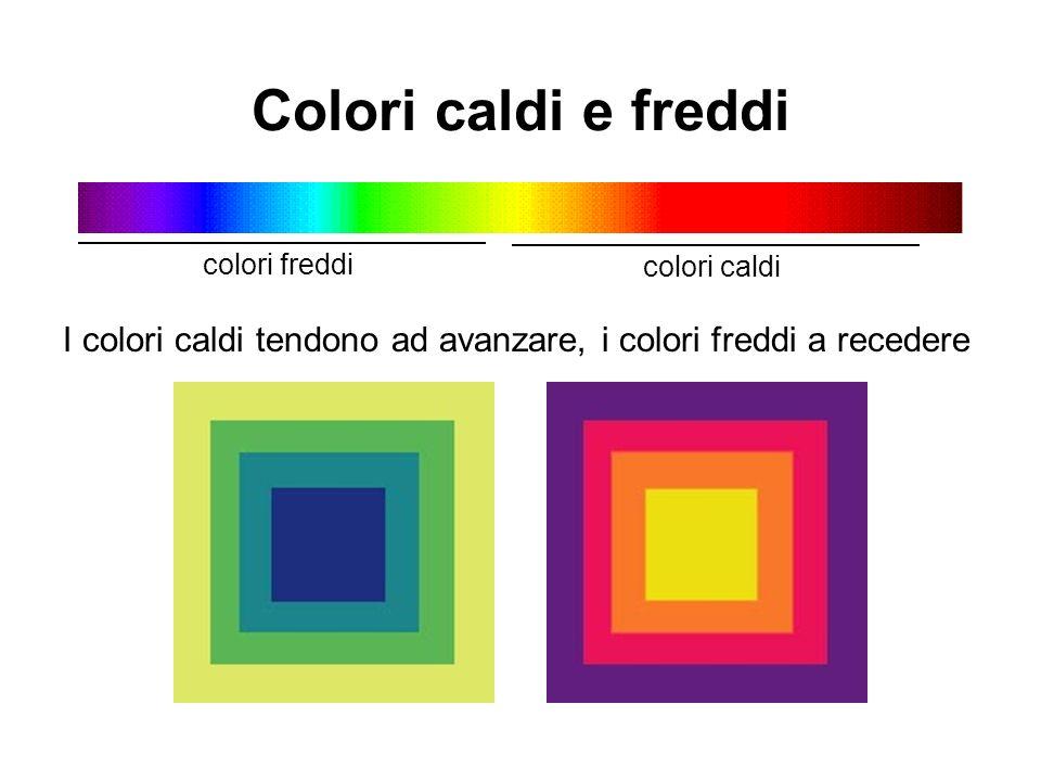 Colori caldi e freddi I colori caldi tendono ad avanzare, i colori freddi a recedere colori freddi colori caldi