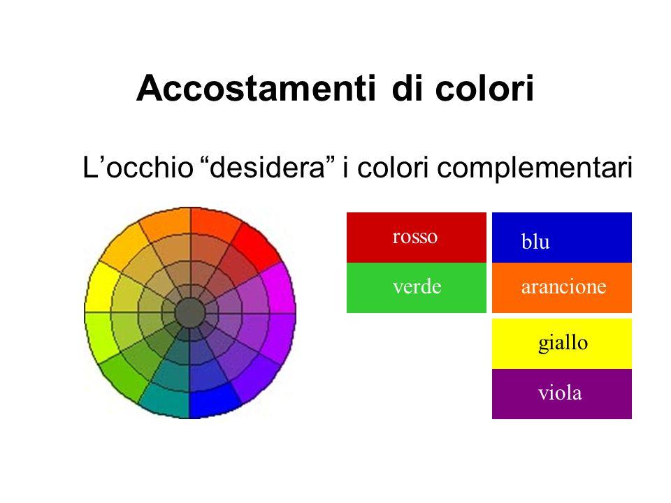 Accostamenti di colori Locchio desidera i colori complementari rosso verdeviola giallo arancione blu