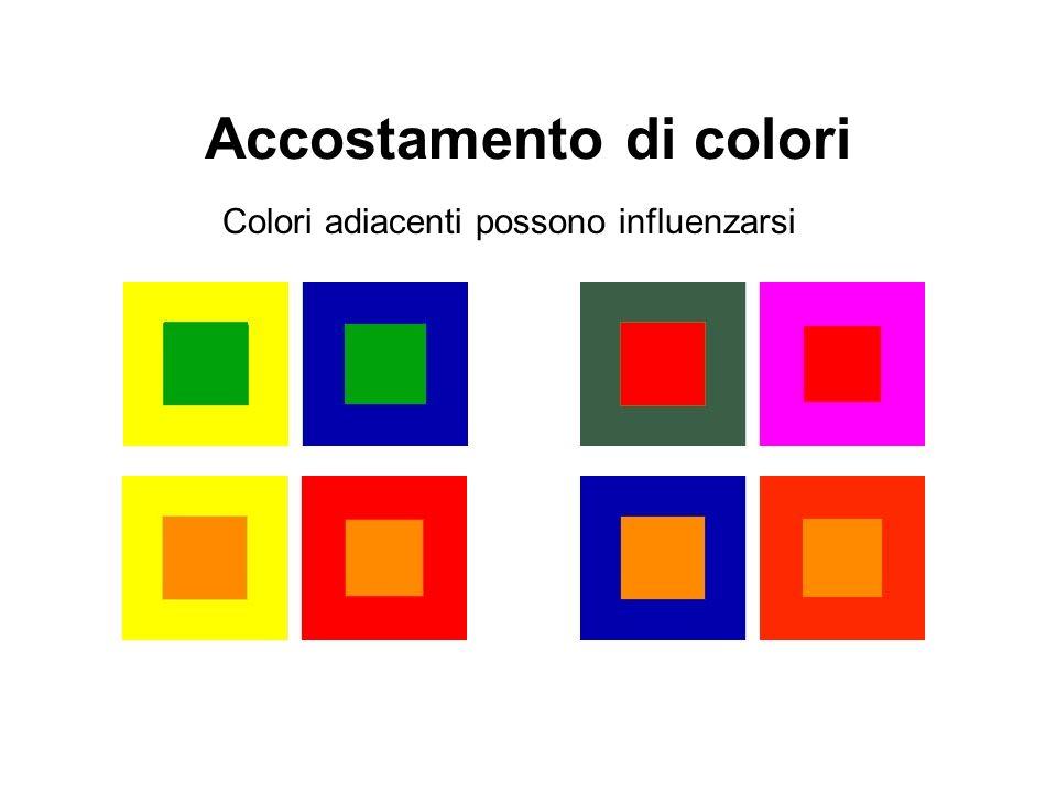 Accostamento di colori Colori adiacenti possono influenzarsi