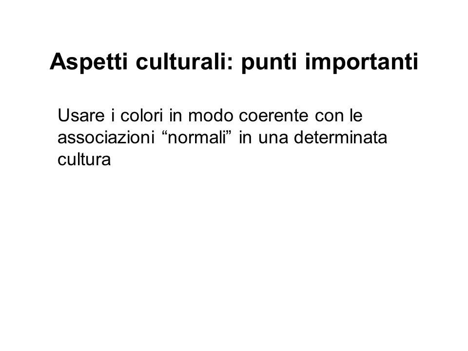 Aspetti culturali: punti importanti Usare i colori in modo coerente con le associazioni normali in una determinata cultura