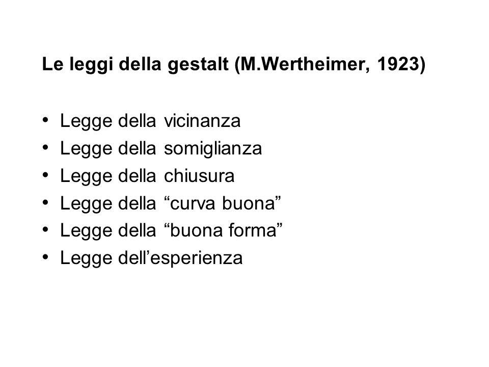 Le leggi della gestalt (M.Wertheimer, 1923) Legge della vicinanza Legge della somiglianza Legge della chiusura Legge della curva buona Legge della buo