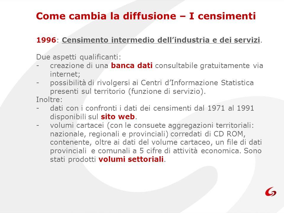 1996: Censimento intermedio dellindustria e dei servizi.