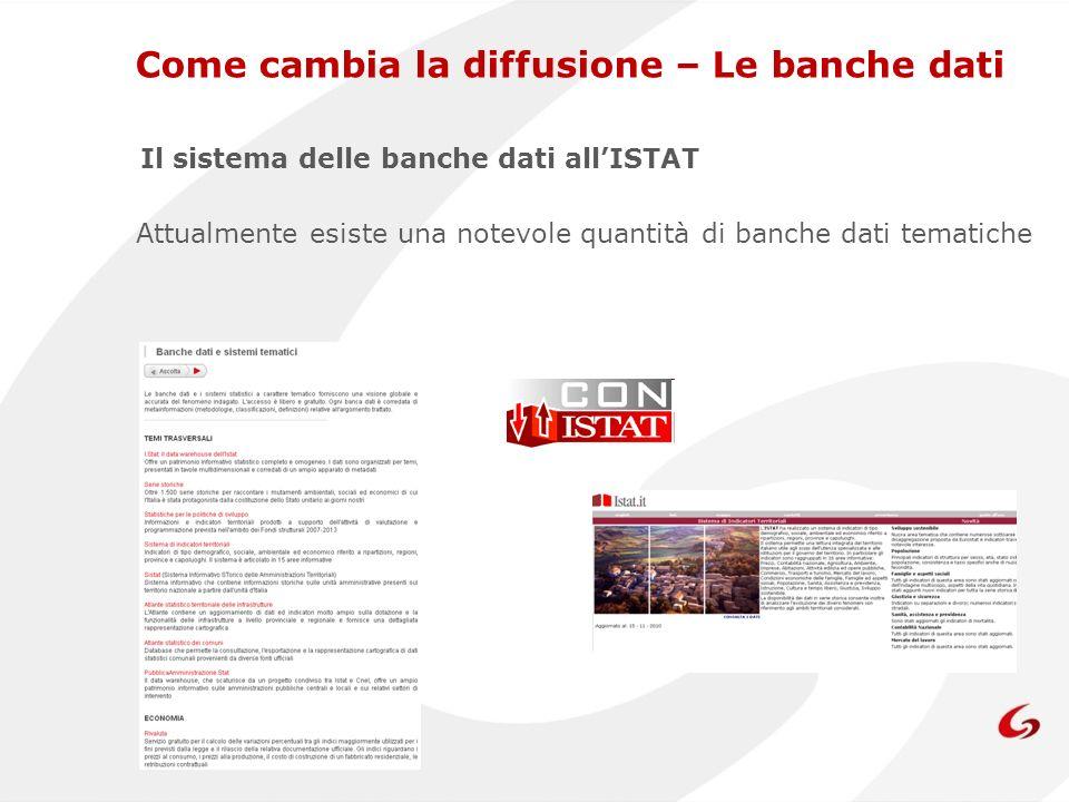 Il sistema delle banche dati allISTAT Attualmente esiste una notevole quantità di banche dati tematiche Come cambia la diffusione – Le banche dati