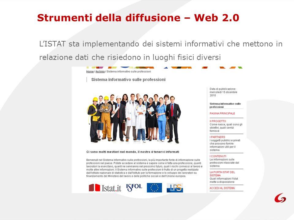 Strumenti della diffusione – Web 2.0 LISTAT sta implementando dei sistemi informativi che mettono in relazione dati che risiedono in luoghi fisici diversi