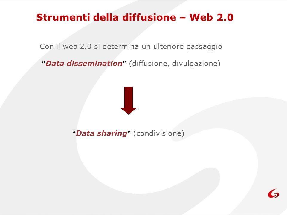 Con il web 2.0 si determina un ulteriore passaggio Data dissemination (diffusione, divulgazione) Data sharing (condivisione) Strumenti della diffusione – Web 2.0