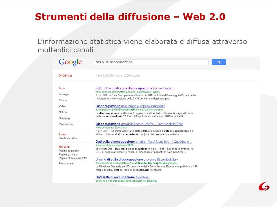 Linformazione statistica viene elaborata e diffusa attraverso molteplici canali: Strumenti della diffusione – Web 2.0