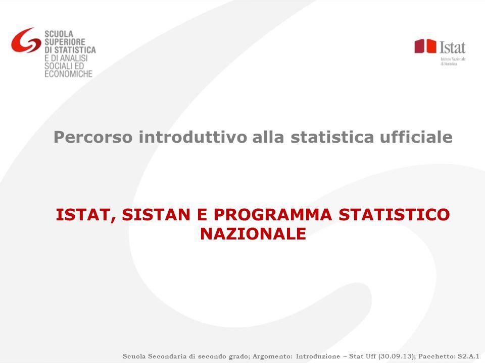 Percorso introduttivo alla statistica ufficiale ISTAT, SISTAN E PROGRAMMA STATISTICO NAZIONALE Scuola Secondaria di secondo grado; Argomento: Introduz
