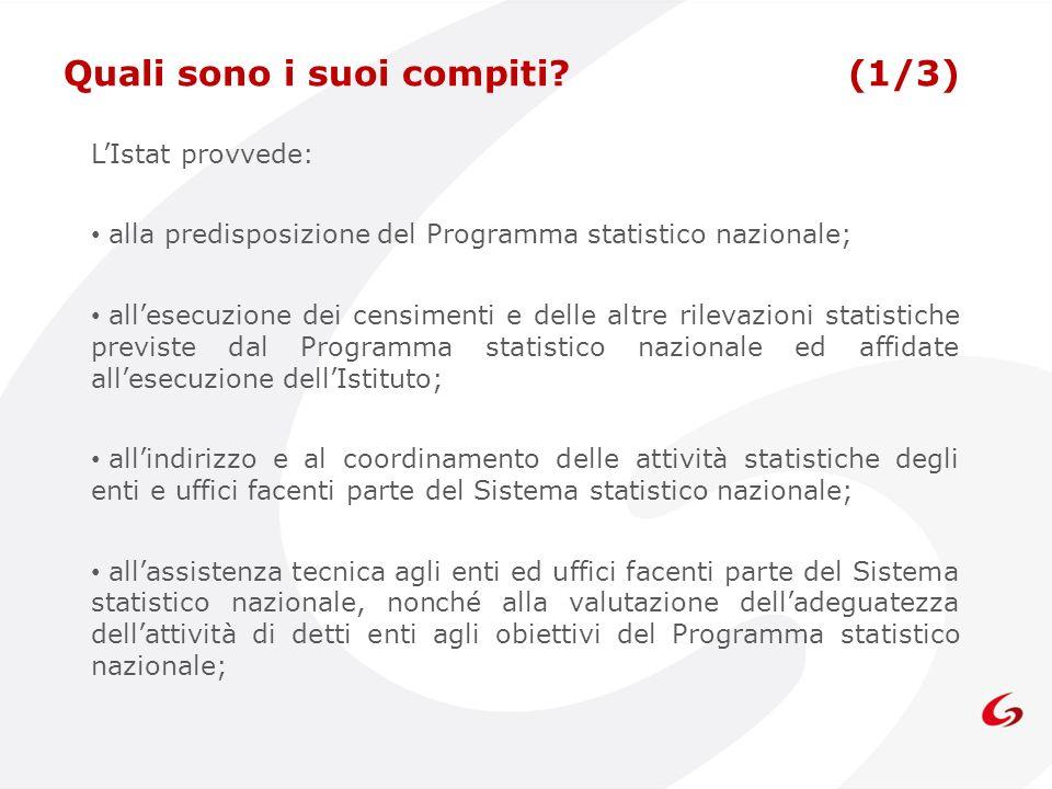 LIstat provvede: alla predisposizione del Programma statistico nazionale; allesecuzione dei censimenti e delle altre rilevazioni statistiche previste