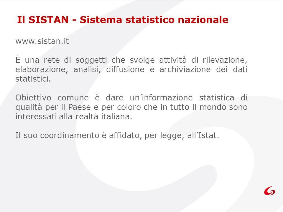 www.sistan.it È una rete di soggetti che svolge attività di rilevazione, elaborazione, analisi, diffusione e archiviazione dei dati statistici. Obiett
