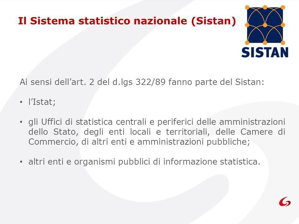 Ai sensi dellart. 2 del d.lgs 322/89 fanno parte del Sistan: lIstat; gli Uffici di statistica centrali e periferici delle amministrazioni dello Stato,