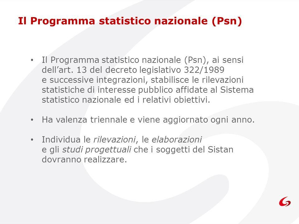 Il Programma statistico nazionale (Psn), ai sensi dellart. 13 del decreto legislativo 322/1989 e successive integrazioni, stabilisce le rilevazioni st