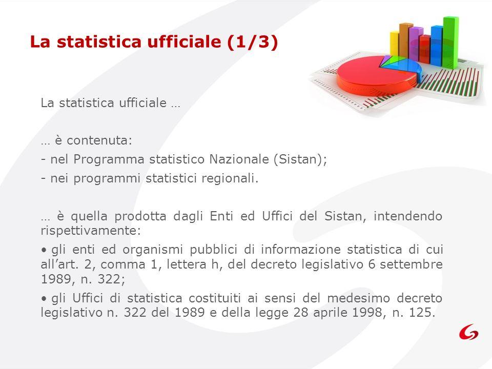 La statistica ufficiale … … è contenuta: - nel Programma statistico Nazionale (Sistan); - nei programmi statistici regionali. … è quella prodotta dagl
