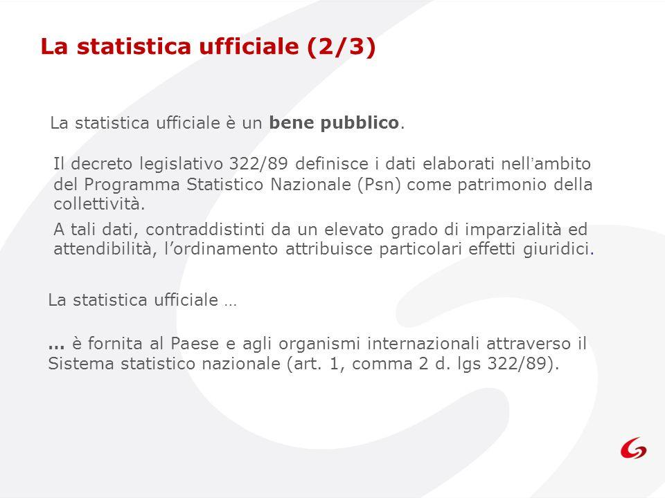 La statistica ufficiale è un bene pubblico. Il decreto legislativo 322/89 definisce i dati elaborati nellambito del Programma Statistico Nazionale (Ps