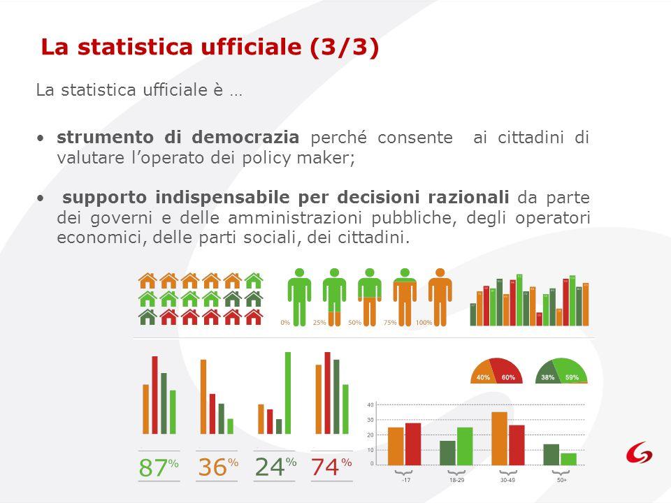 La statistica ufficiale è … strumento di democrazia perché consente ai cittadini di valutare loperato dei policy maker; supporto indispensabile per de