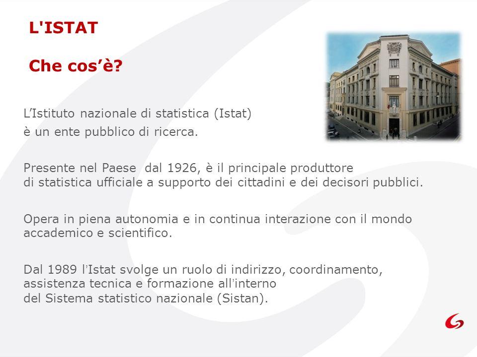 L'ISTAT Che cosè? LIstituto nazionale di statistica (Istat) è un ente pubblico di ricerca. Presente nel Paese dal 1926, è il principale produttore di