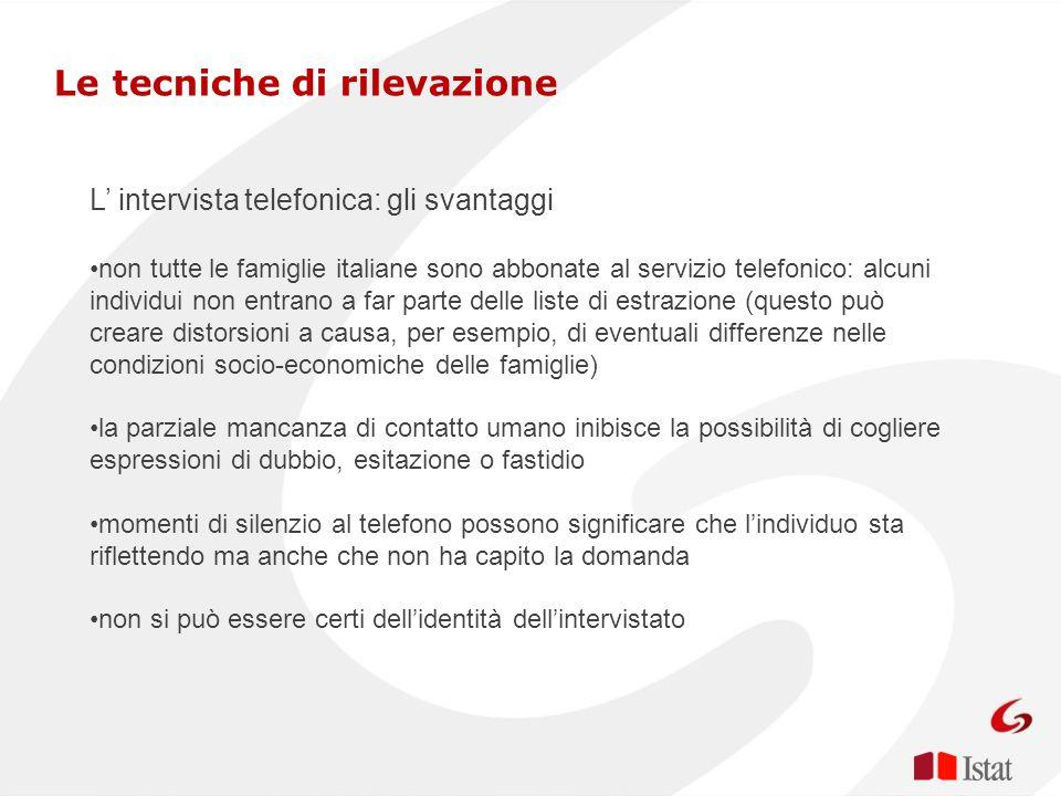 L intervista telefonica: gli svantaggi non tutte le famiglie italiane sono abbonate al servizio telefonico: alcuni individui non entrano a far parte d
