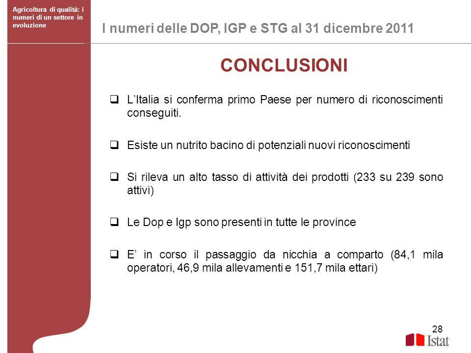 28 I numeri delle DOP, IGP e STG al 31 dicembre 2011 Agricoltura di qualità: i numeri di un settore in evoluzione CONCLUSIONI LItalia si conferma prim